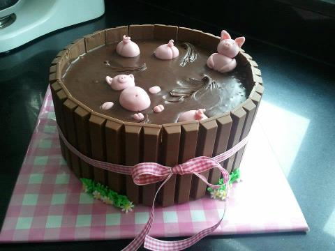 pigs swimming in mudcake