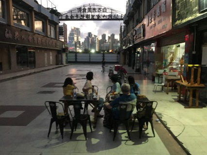 Looking from the Baishizhou Food Street toward CRC Huaruncheng (华润城) in neighboring Dachong, which was redeveloped in the 2010s.